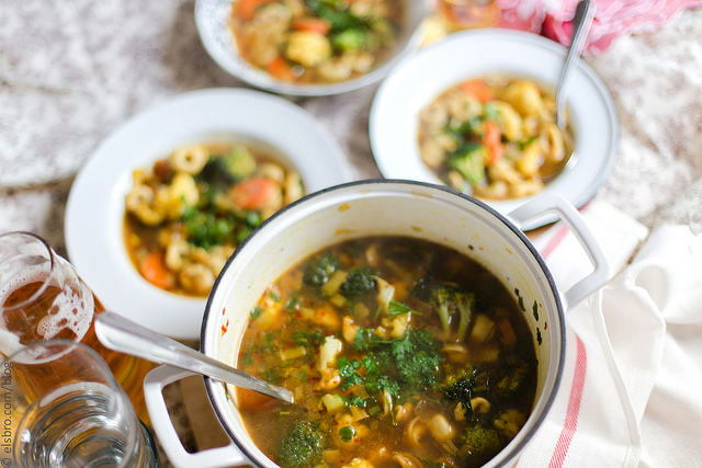 Mushroom Tortellini and Vegetable Soup