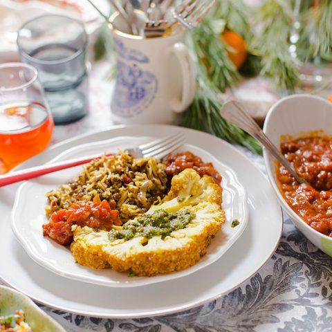 Rice, Lentils & Whole Roasted Cauliflower